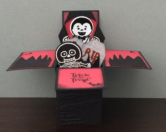 Handmade Greeting Card- Trick or Treat Vampire and Skeleton Coffin, 1 Pop Up Box Card, Notecard