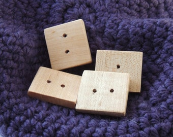 Large Square Maple Button - reclaimed hardwood set of 2