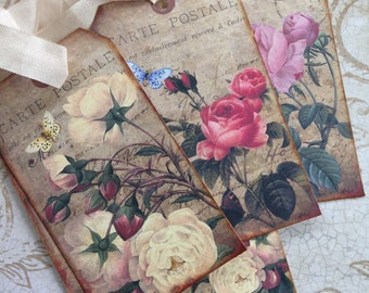 Vintage Style Rose Tags/Shabby Rose Tags/French Style Tags/Floral Tags/Vintage Inspired Bookmarks/Wedding Tags/Packaging/Gift Wrap/Set of 6