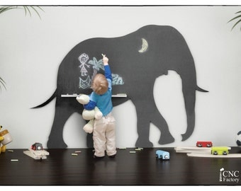 ELEPHANT BLACKBOARD SILHOUETTE - cnc template cutting file - Board for children - Blackboard For Drawing- School Baby Games