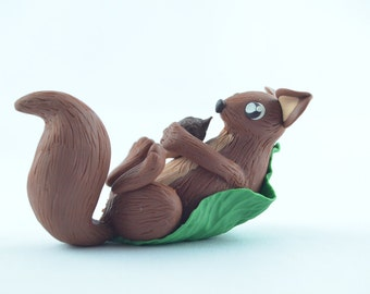 polymer clay miniature squirrel, squirrel figurine, tiny squirrel, kawaii squirrel, handmade squirrel