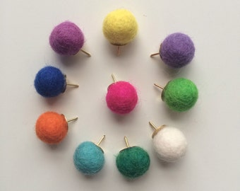 Felt Pom Pom Thumb Tacks, 10 pk