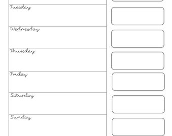 Simple Modern Weekly Calendar