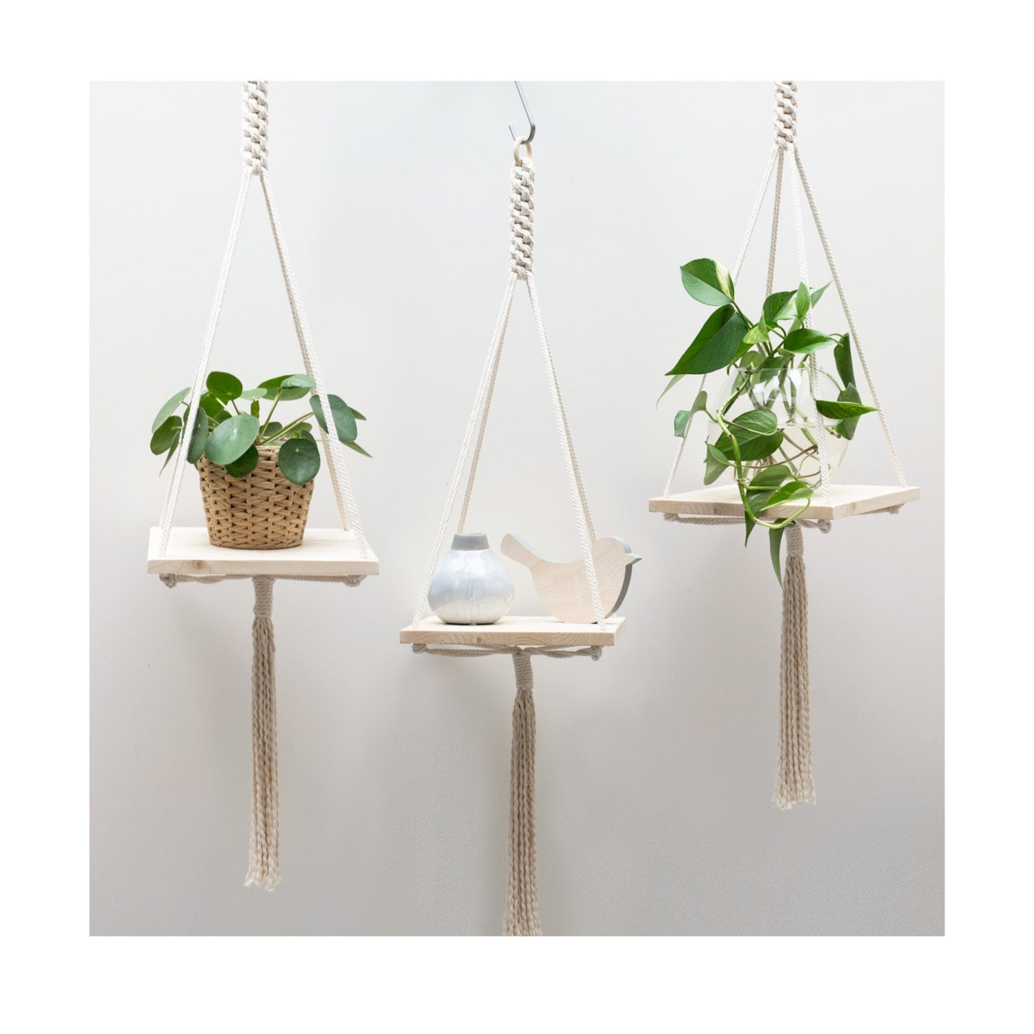 macrame plant hanger macrame shelf hanging by teddyandwool. Black Bedroom Furniture Sets. Home Design Ideas