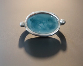 Silver ring 925 and resin, blue-green, size 51