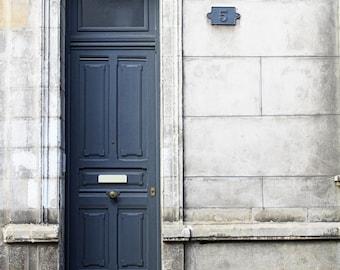 door print, doors of France, grey door, white stone, elegant French door, fine art photography, wall art, home decor, French architecture