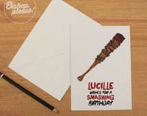 Lucille Wishes You A Smashing Birthday, Walking Dead TV Comic Greetings Card, Happy Anniversary Birthday gift
