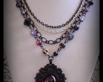 SALE 50% OFF - EVILYN Black Amethyst Purple Glass Cabochon Gothic Victorian Noir Skull Layered Chain Necklace