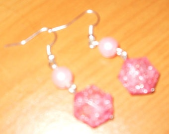 Sparkly Pink Dangle Earrings