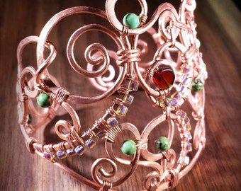 Copper Swirls, Carnelian, Turquoise, Handmade, Wire Wrapped Bracelet