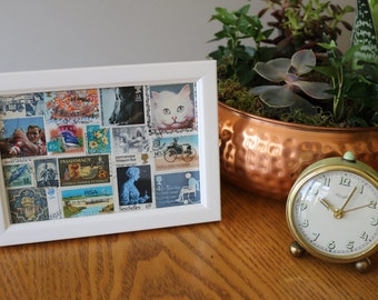 Vintage and Unique Blue Stamp Collage