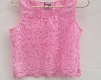 pink lace with tank top