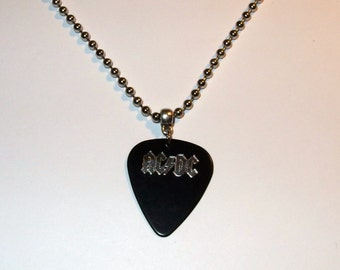 AC/DC Ballbreaker Logo Ball Chain Guitar Pick Necklace