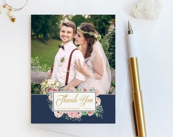 Wedding Thank You Card, Custom Photo Wedding Thank You Cards Gold Foil Wedding Thank You Cards Vintage Gold Foil Wedding Cards Katelyn1