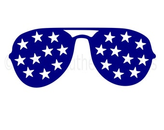 Sunglasses with stars fourth of July SVG instant download design for cricut or silhouette