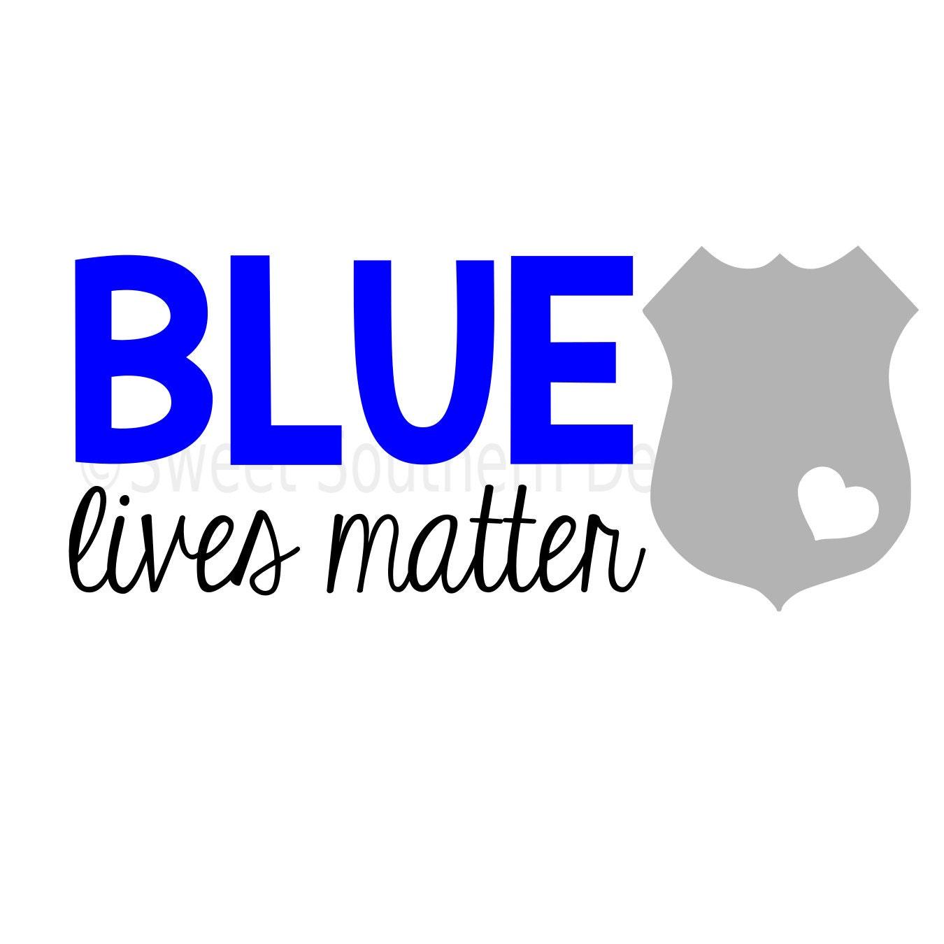 Blue lives matter police badge DXF SVG instant download design