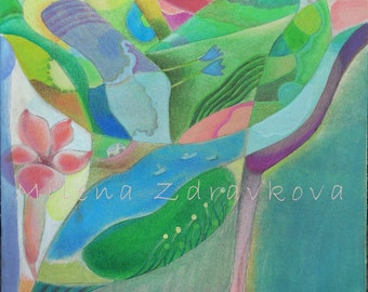 Travelings, painting, high quality print, signed and dated, Milena Zdravkova, MilesofjoyStudio.
