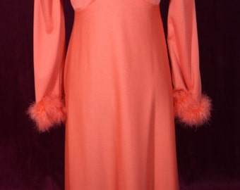 Vintage 1970's dress with feather trim