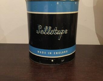 Retro mid century Sellotape tin made in England