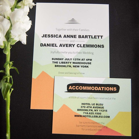 Abstract Mountain Wedding Invitation + RSVP