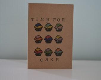 Time for cake cupcake greetings card