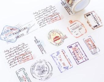 Watercolor Vintage Stamp Wide Washi Tape 40mm/ Watercolor Washi Tape/ Masking Tape/ Decorative Tape