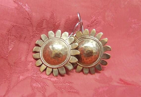 flower earrings,gold earrings,Ethnic jewelry,Statement jewelry, drop earrings,Brass&sterling silver,Bohemian jewelry,present for best friend
