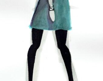 PRINT of Blue Dress Illustration