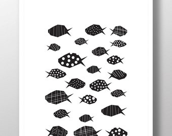 Fish print, fish pattern, printable fish, black and white nautical decor, nautical prints, illustration print, wall art, kids room decor