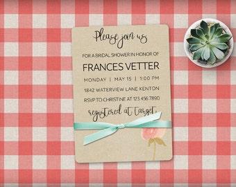 Printable Bridal Shower Invitation, Bridal Shower Invite, Vintage Bridal Shower Invitation, Kraft Paper Invite with Vintage Roses