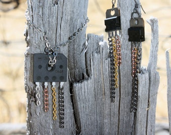 Circuit Board Wearable Tech, Earrings and Necklace, Gift for Engineer, Computer Science Gift, Handmade Electronic Jewelry