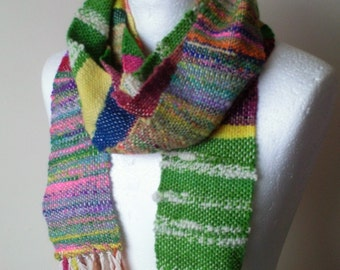 Vibrant Handwoven Skinny Scarf - Handwoven Scarf - Saori Weaving - Skinny Scarf - Multicoloured - Handspun Yarn - Ready to Ship