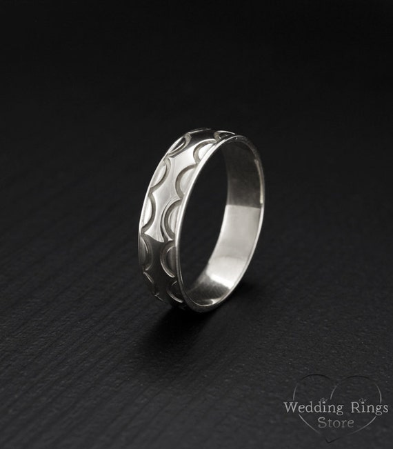 wave silver band unique silver ring wedding band silver