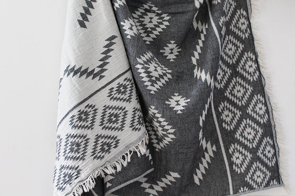Kilim Aztec Blanket Black Boho Blanket Throw Blanket