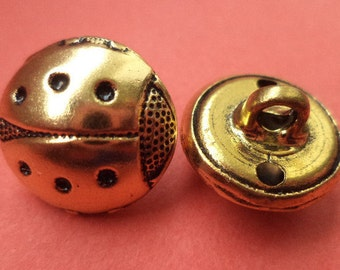 4 metal buttons gold 15 mm 18 mm (6135 6110) buttons metal knob beetle