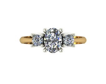 Oval Moissanite Engagement Ring in 9 Carat Yellow Gold