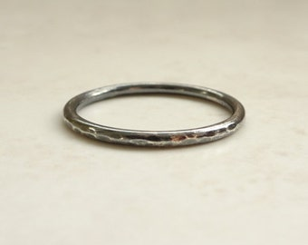 Oxidized Silver Ring - Silver Oxidized Stacking Ring - Sterling Silver Oxidized Ring - Hammered Silver Ring