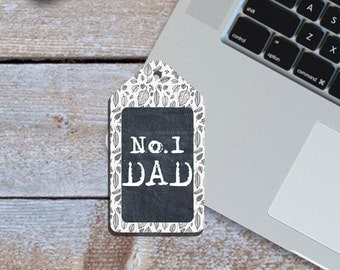 Fathers Day Printable, Father's Day Gift Tag, Number 1 Dad Gift Tag, Printable Instant Download Gift Tag, Gift Tag for Dads