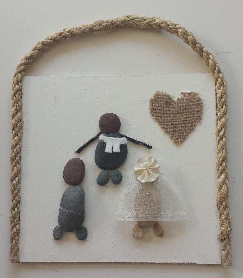 Stone Art Wedding Gift : Stone Art Pebble Art Rock Art 3D Wall Art Wedding Gift