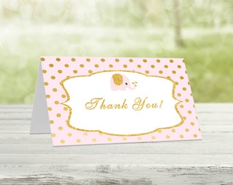 Pink & Gold Thank you cards, Girl Baby Shower, Printable thank you, Baby shower thanks,Printable thanks, Printable card, Thanks card, EP-2
