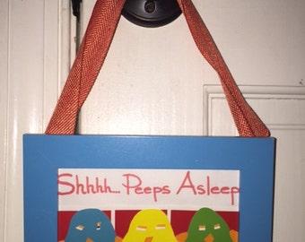 Peeps Asleep Doorknob Hanger - handmade, framed, chickipoo