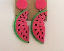 Kitsch Vintage Retro 1960s Large Watermelon Earrings