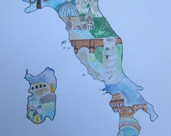 Map of Italy Watercolour illustration | A5 | Italian Landmarks