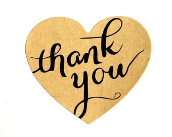 Thank You Sticker (set of 36) - Heart Shaped Kraft Thank You Stickers (3.8cm diameter)