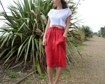 Handmade Utility Skirt made in 100% organic linen, Drawstring Waist, Knee length skirt