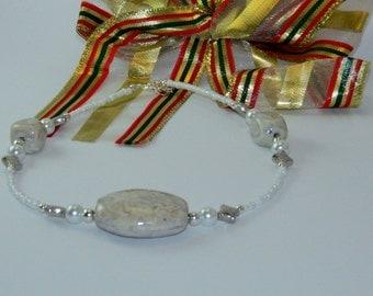 Cream stone beaded necklace