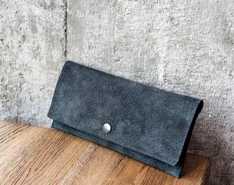 KIM ash grey suede purse