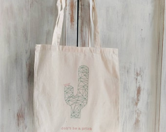 Cotton Canvas tote bag don't be a prick cactus