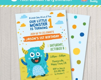 Little Monster First Birthday Party Invitation | Green Blue Theme | Boys Turning One | Digital Printable | PERSONALIZED Invite