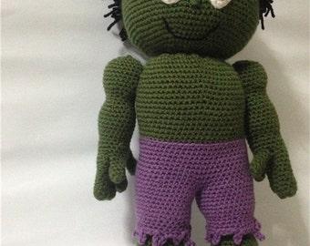 Crocheted Stuffed Hulk Doll, Children's Stuffed Superhero,